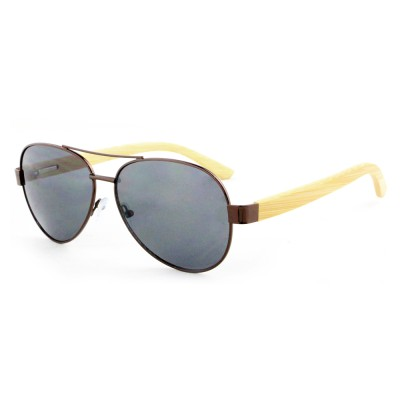 Sunglasses with Wooden Arms, Bamboo, Stainless Steel, Black Lenses