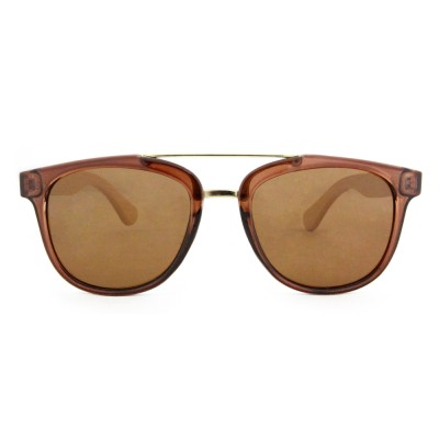 Designer Sunglasses Natural, Plastic Full Rim Frame,Brown Lenses, Bamboo