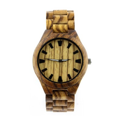 Expensive Wooden Watches,Zebra Wood Case,All Nature Wood  Strap, Metal Scale