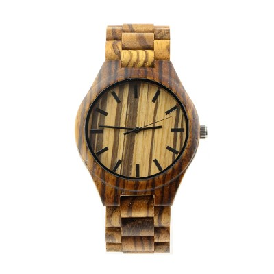 Hardwood Watches,Zebra Wood Case, All Nature Wood Strap, Metal Scale