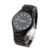 Affordable Wooden Watches, Ebony Wood, All Nature Wood  Strap, Metal Scale