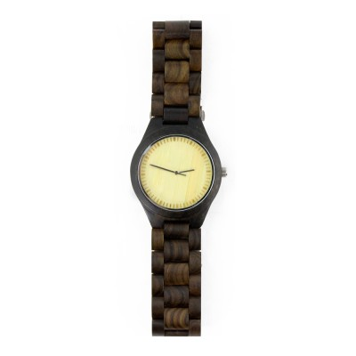 Engraved Mens Watches, Ebony Wood, All Nature Wood  Strap, Metal Scale