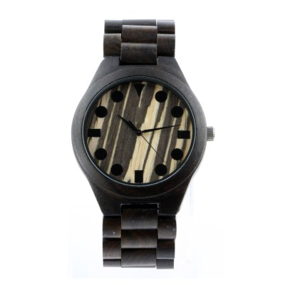 Wood Made Watches, Ebony Wood, All Nature Wood  Strap, Metal Scale