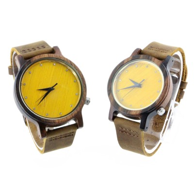 Handcrafted Silver Watches, Ebony Wood, Leather Strap