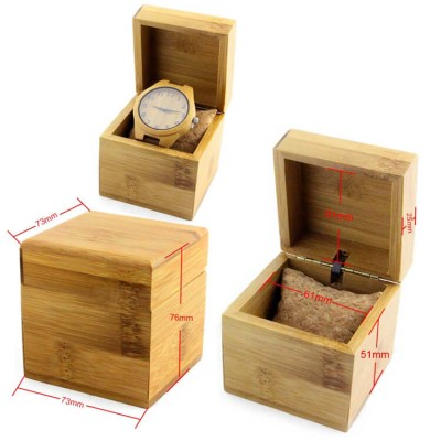 Square handmade wood watch box made with bamboo,Connect with hinge
