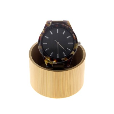 round wood watch box personalized made with bamboo