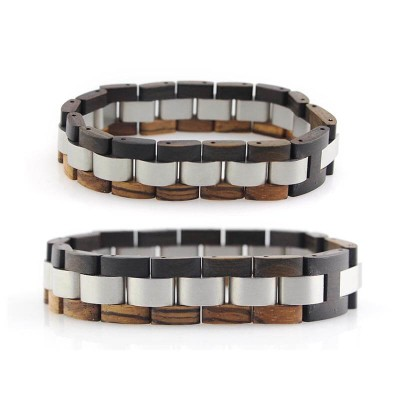 stainless steel and wood bracelet mens
