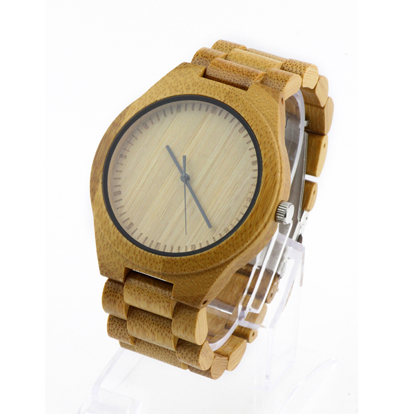 full bamboo and scale no number dial with natural wood watch side view picture