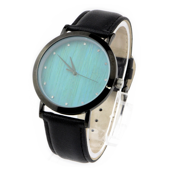 steel and blue bamboo diamond no number dial metal wood watch side view picture