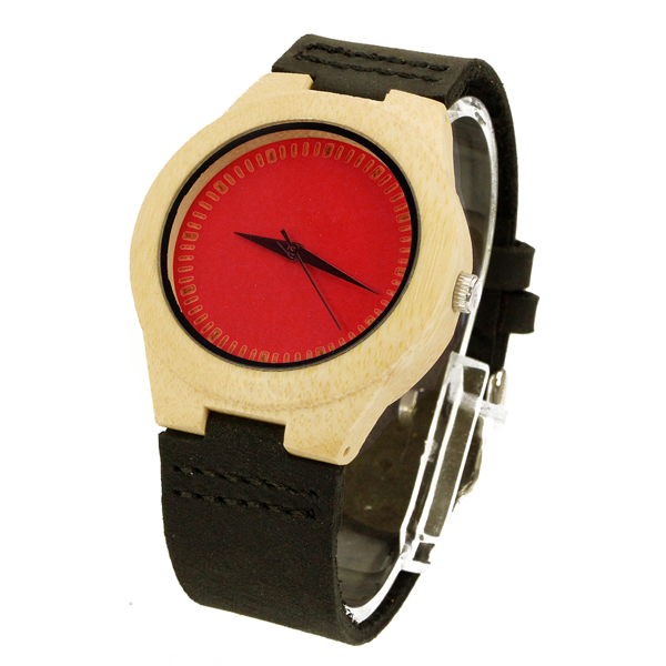 couple bamboo case and red bamboo no number dial the wood watch online