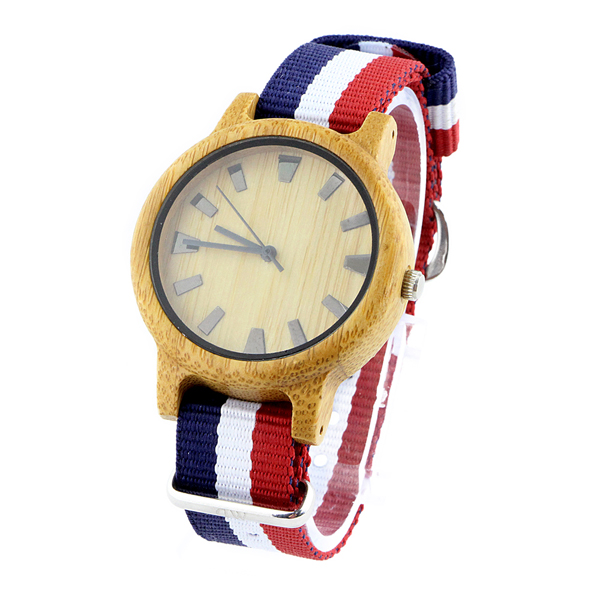 bamboo and no numerals dial with nylon strap good wood watch side view picture