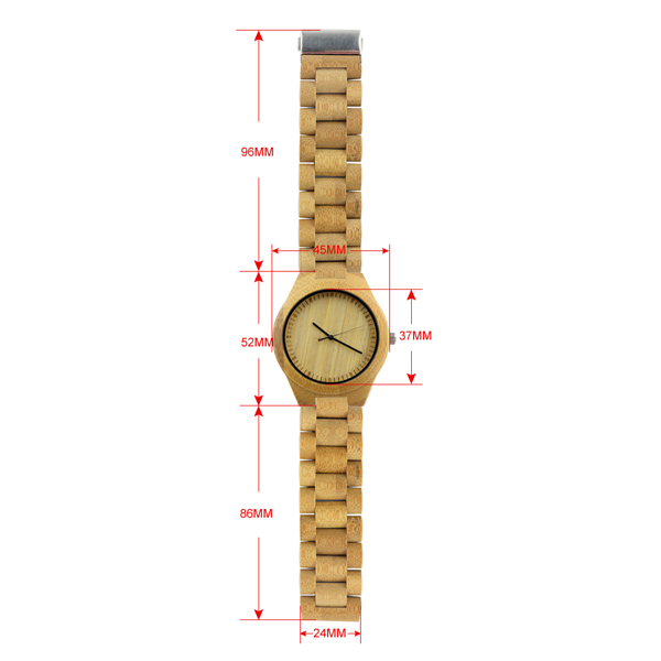 full bamboo and no number dial all natural wood watch size chart