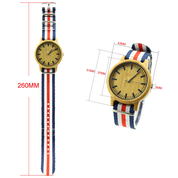 bamboo and no number dial with nylon strap wooden watch size wb