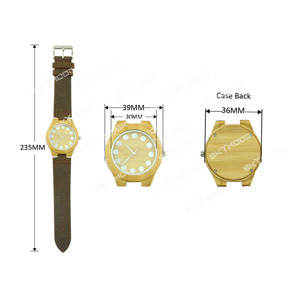 bamboo case and no number dial wooden watch women size