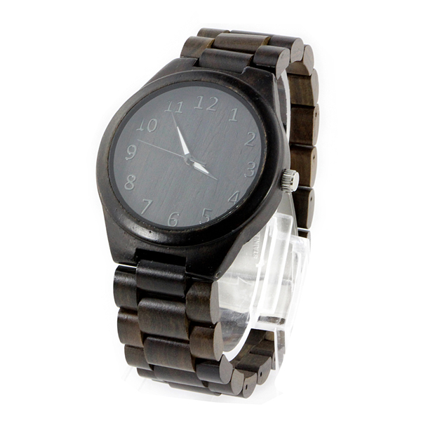 all black ebony and no number dial quartz wooden watch side view picture