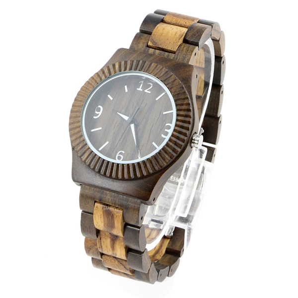 full walnut and round dial natural watch side view picture