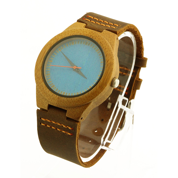 bamboo case and blue bamboo no number dial bamboo wooden watch side view picture