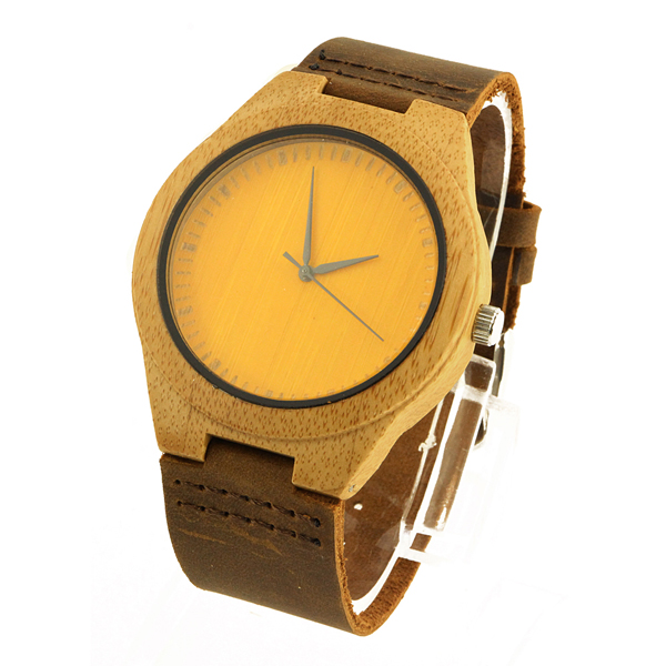 bamboo and no number dial wooden watch side view picture