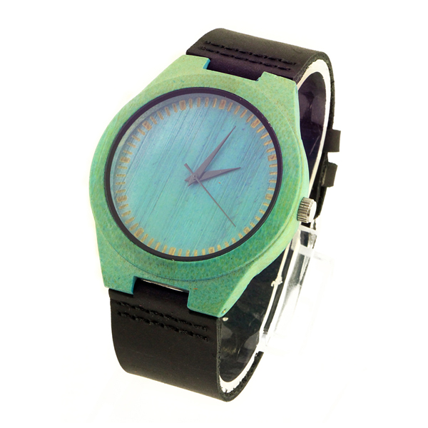 green bamboo case and blue bamboo dial original wood watch side view picture