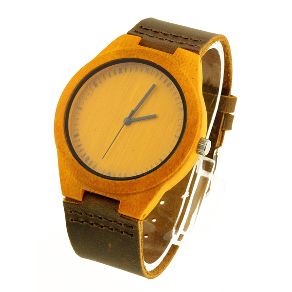 bamboo case and yellow bamboo no number dial best wood watch side view picture