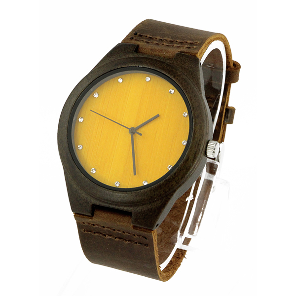 walnut case and yellow bamboo no number diamond dial luxury wood watches side view picture