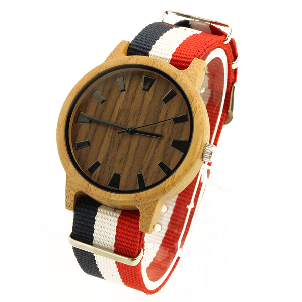 bamboo case and walnut no number dial Wood Wood Watch side view picture