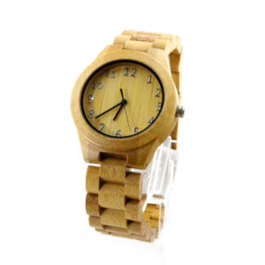 full bamboo watch with number round dial side view picture