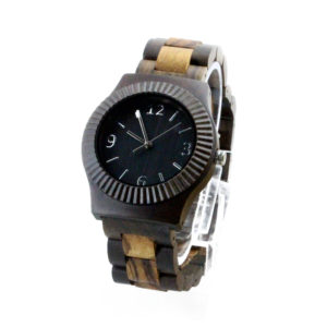 full wood ebony round dial hand wrist watches side view picture