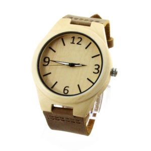 round number dial with leather band maple wood watch side view picture