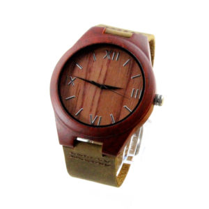 women red sandalwood and roman numerals dial original grain rosewood watch side view picture