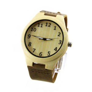 maple and number dial with leather band wood grain watch side view picture