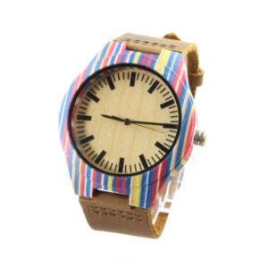 women skateboard wood case and bamboo dial hawaiian wood watch side view picture
