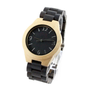 maple case and ebony number dial best handcrafted watches with wood wrist side view picture