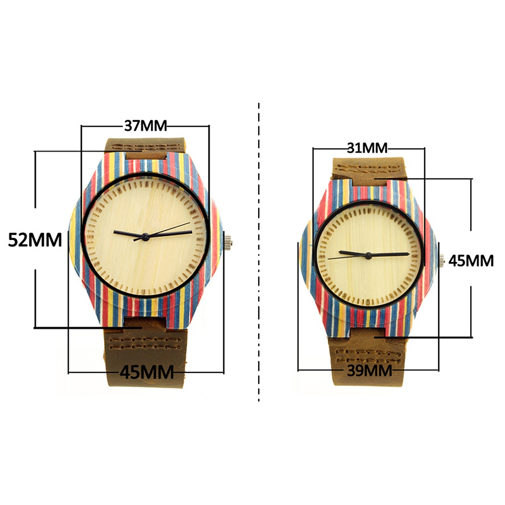 couple skateboard wood case and no number dial wood leather watch size chart