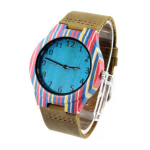 skateboard wood case and blue bamboo number dial fashion wooden watches side view picture