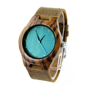 zebra case and blue bamboo diamond dial wood leather watch side view picture
