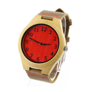 bamboo and red bamboo number dial handcrafted leather watches side view picture