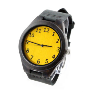 ebony case and yellow bamboo number dial wood watch leather band side view picture
