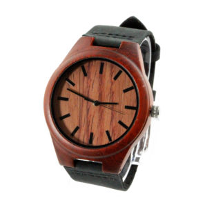 red sandalwood and no number dial designer wood watches with leather band side view picture