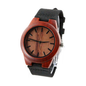 red sandalwood with leather band womens wood watch side view picture