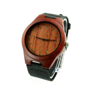red sandalwood and no number dial cool watches for men with leather band side view picture