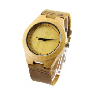 scale no number dial with bamboo watch band leather band side view picture