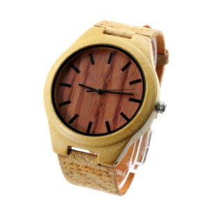 bamboo and red sandalwood nu number dial wholesale bamboo sunglasses cork wood strap side view picture