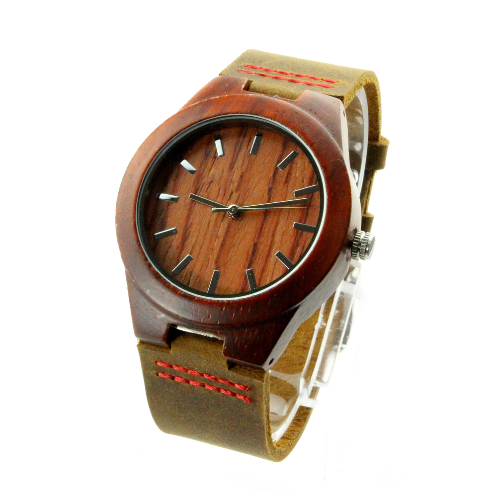 men quartz product strap pattern wood handmade leather modern s clock compass black natural sandalwood watch wrist watches digital dial brown genuine