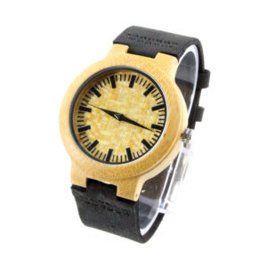 bamboo and round dial with black leather band mens cool watches front view picture side view picture