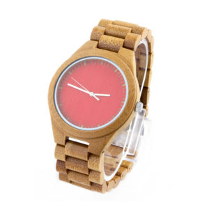 full bamboo and red dial no number wooden womens watch side view picture