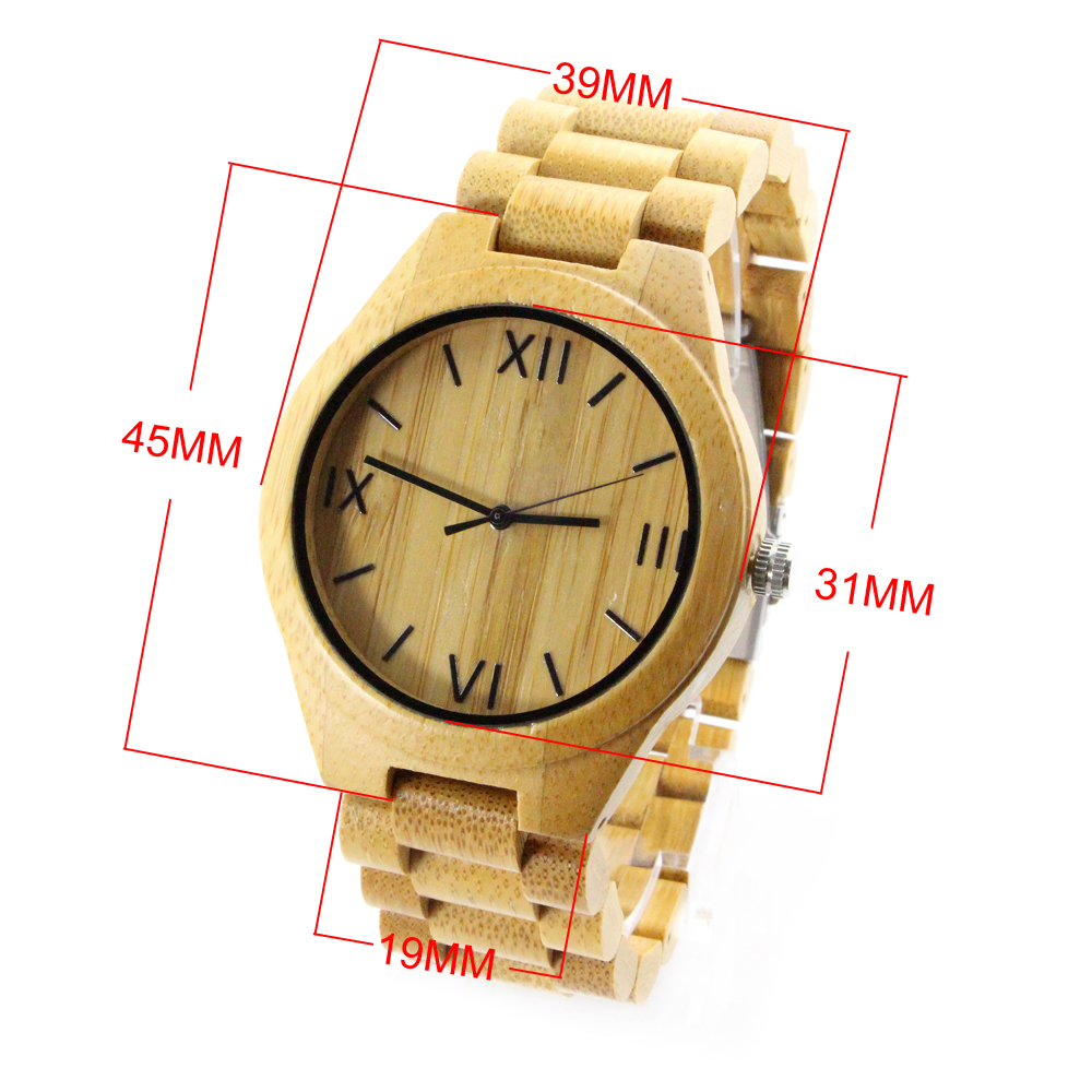 full bamboo and roman numerals dial wooden women's watch size chart