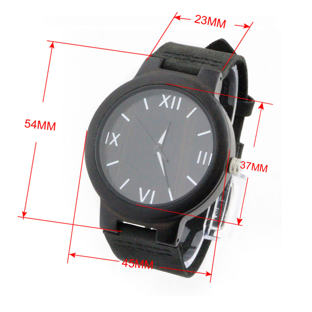 ebony and roman numerals dial with leather band men's business watch size chart