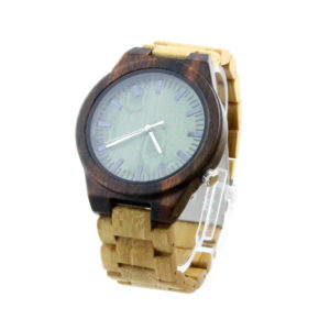 walnut case and green bamboo with wood wrist eco friendly wooden watches side view picture