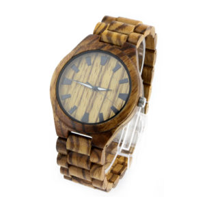 full bamboo and zebra no number big dial expensive wooden watches side view picture